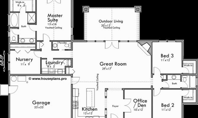 House Plan Vaulted Great Room Home Design Style