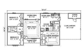 House Plans Bedroom Carport