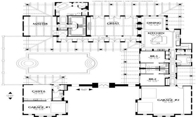 House Plans Courtyard Spanish Hacienda Home