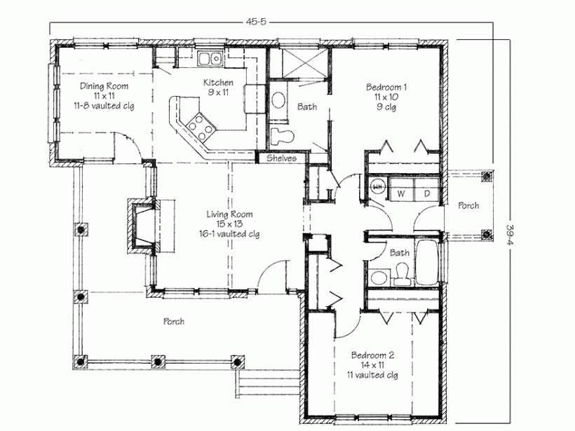 House Plans Small Home Contemporary Two Bedroom