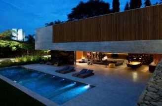 House Pool Lighting Night
