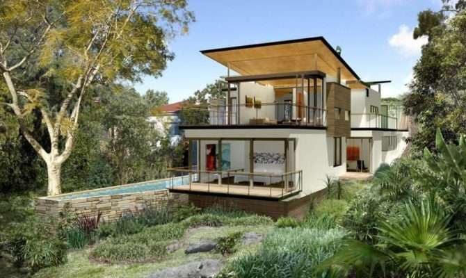 Houses Built Sloping Land House Plan