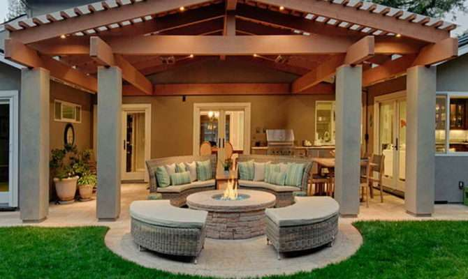 Ideas Covered Patio Designs Firepit