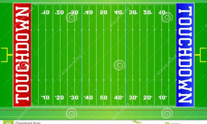 Illustration American Football Field Layout Red Blue
