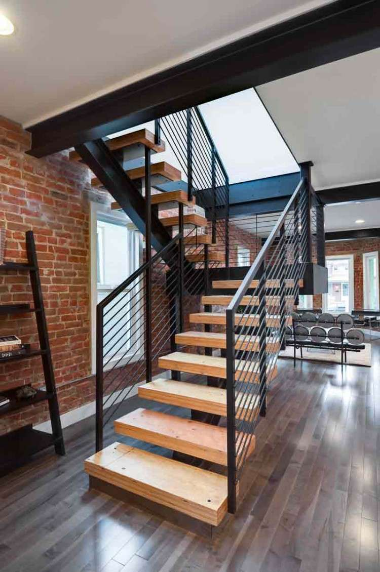 Impressive Modern Stairs Wooden Railing Designs Interior