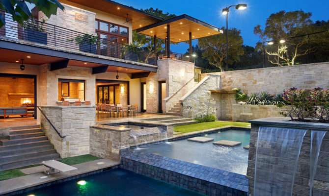 Incredible Pool Elevations Fountains Front House
