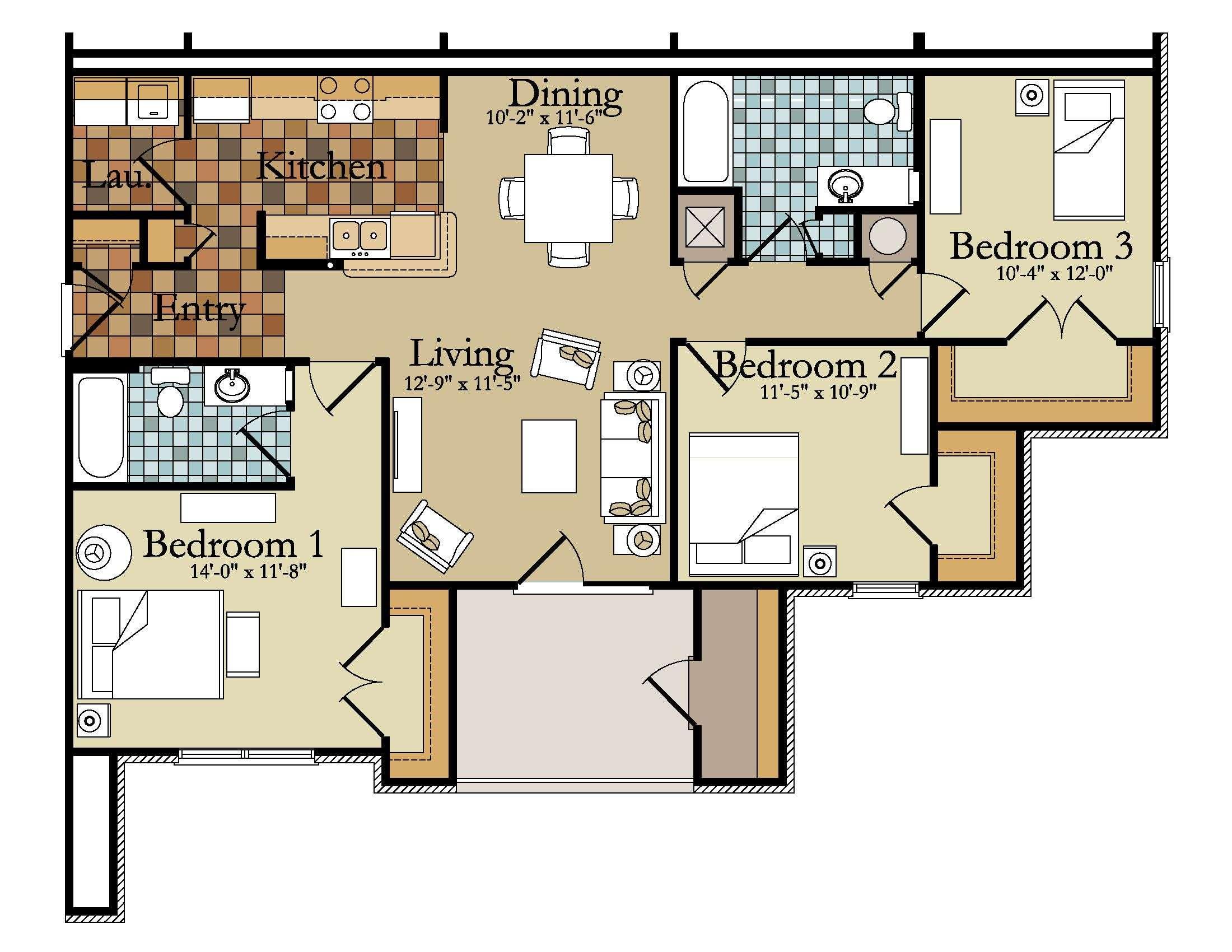 Inspiring Bedroom Apartment Floor Plan Contemporary