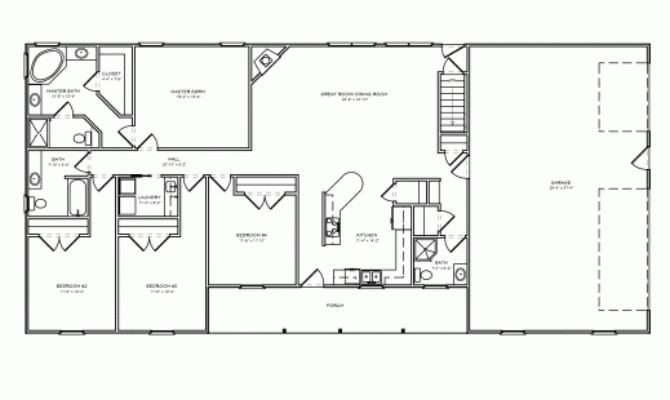Inspiring Bedroom Ranch House Plans Carport