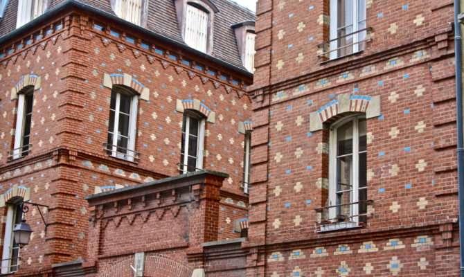 Interesting Brick Building Facade Paris France