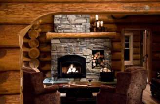 Interior Off Log Home Stone Fireplace