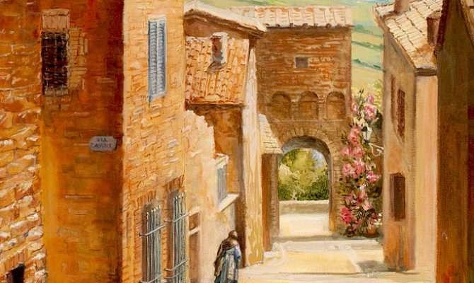 Italian Courtyard Painting Larisa Napoletano