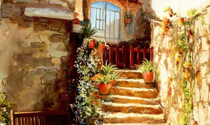 Italian Courtyard Tuscany Painting Larisa Napoletano