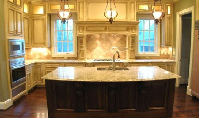 Kitchen Island Sink Feat White Cabinets Dark Wood Floor