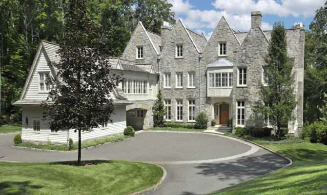 Lakefront English Stone Manor Home Greenwich