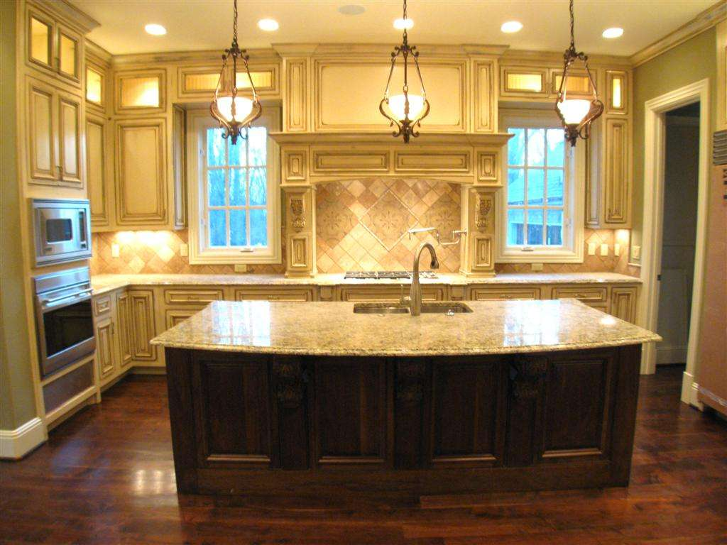 Large Kitchen Island Sink Feat White Cabinets Dark Wood
