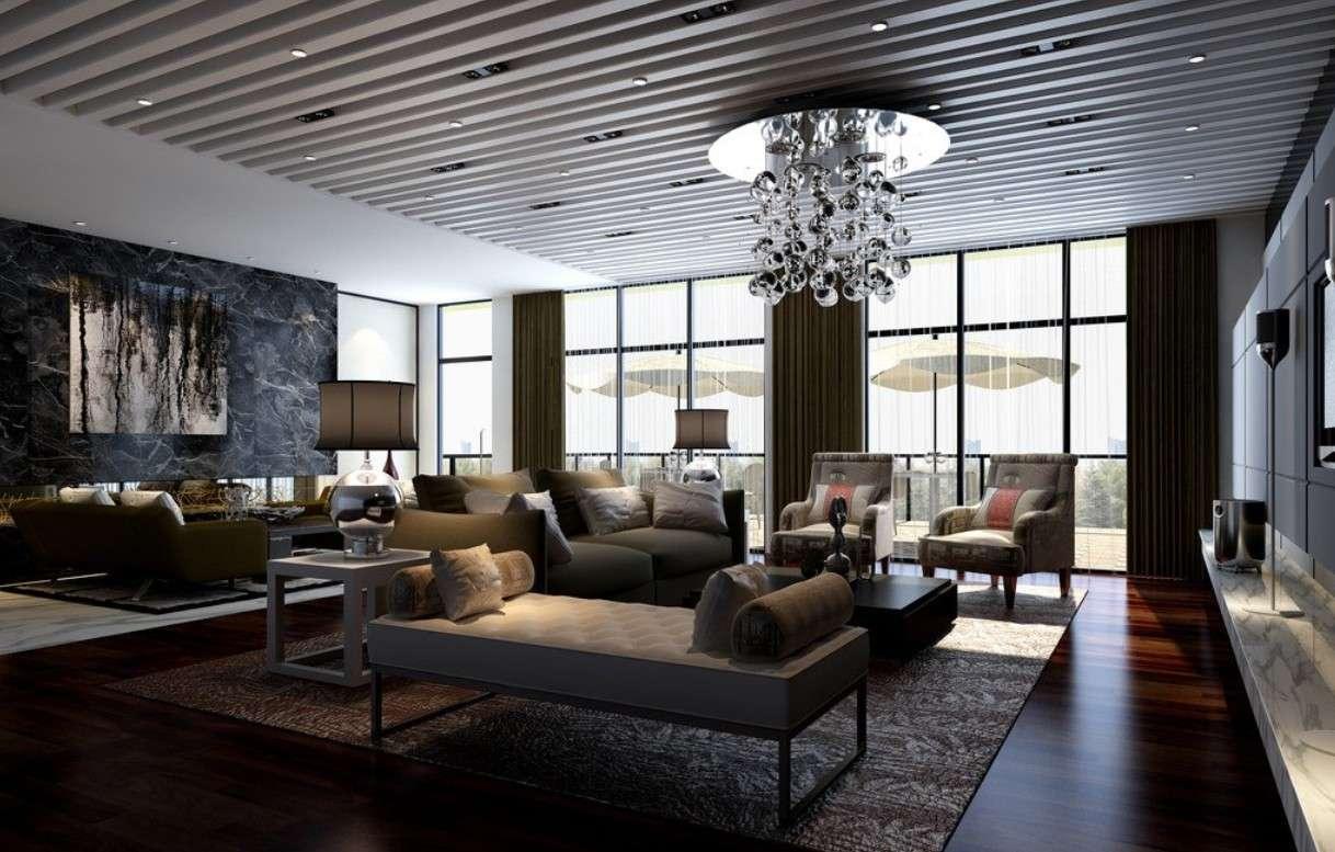 Large Living Room Interior Design Rendering