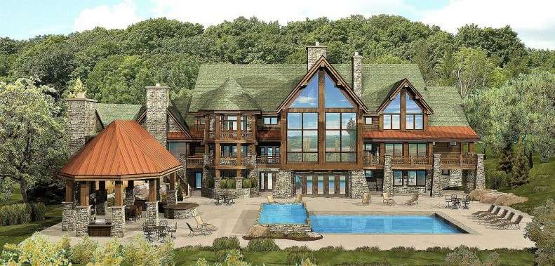 Large Log Home Floor Plan Brick House Plans Bedroom
