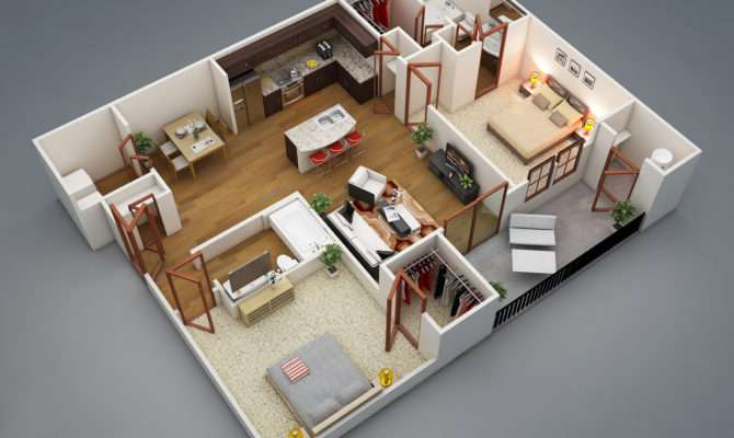 Layout Wraps Each Bedroom Around Large Shared Living Area