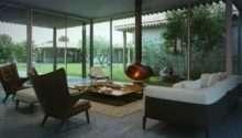 Living Room Boasts Mid Century Modern Furnishings Mixed