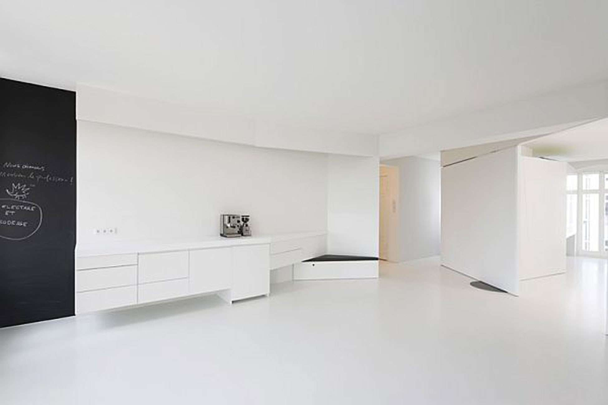 Living Room White Apartment Design Spacious Space