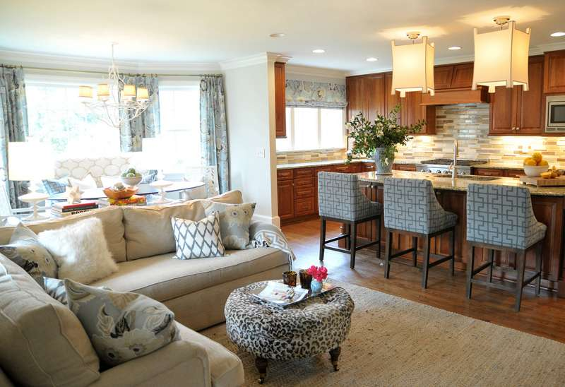 Living Room Work Well While Pendant Lamp Kitchen Blends
