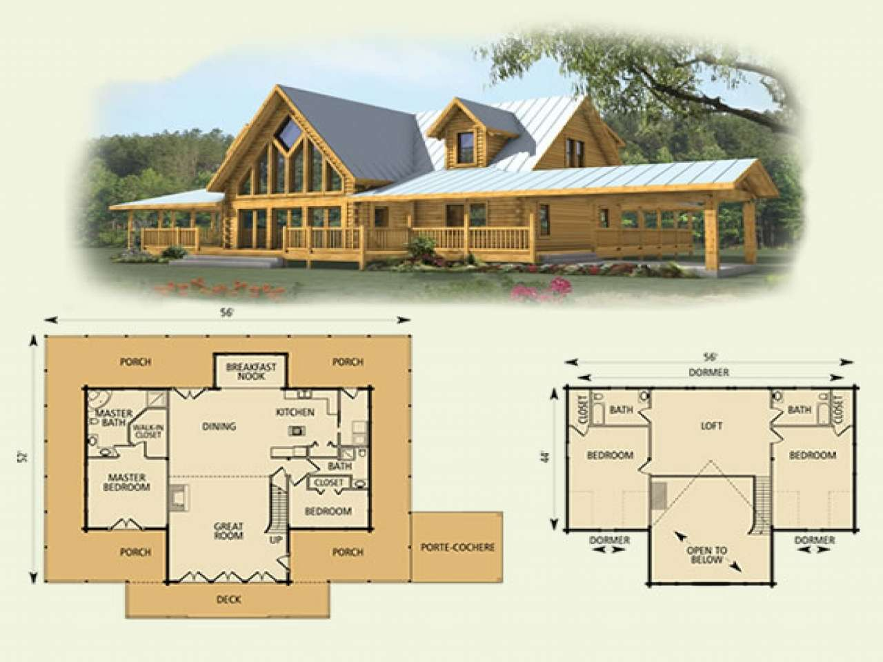 Log Home House Plans Loft Deco