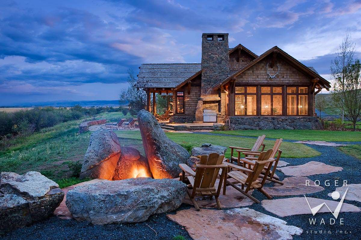 Log Home Photography Ranch House Fire Pit Twilight
