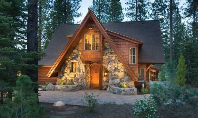 Love Stone Front Frame Log Home