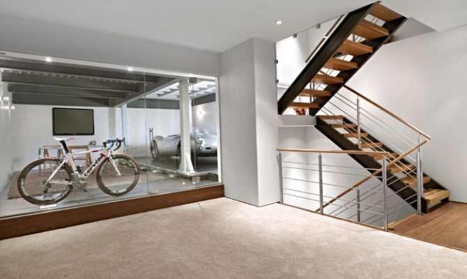 Lower Garage Stairs Contemporary Basement