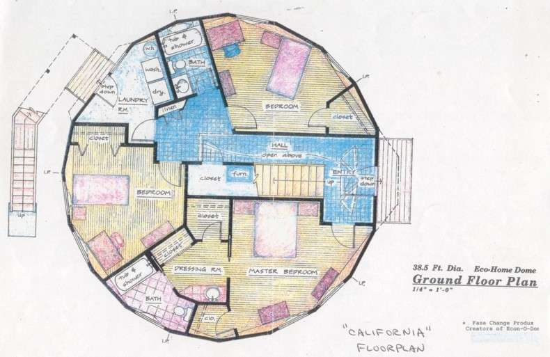 Lower Level Floorplan Foot Diameter California Earthberm Home