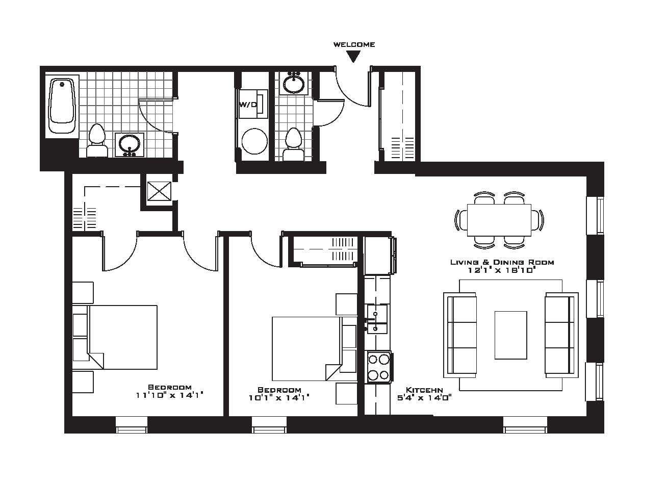 Luxury Apartment Floor Plans Plan North