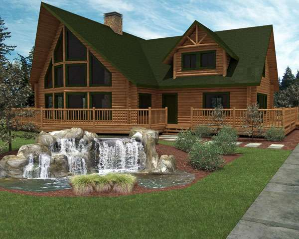 Luxury Home Designs Log Plans Small Fountain