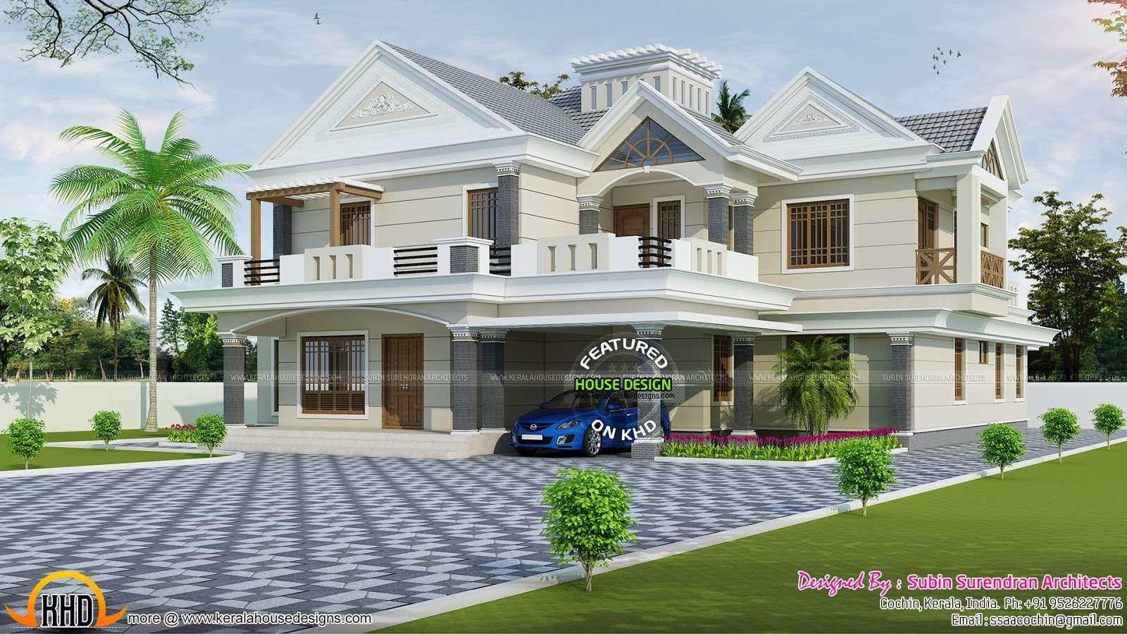 Luxury Modern Sloping Roof Bedroom Home Kerala