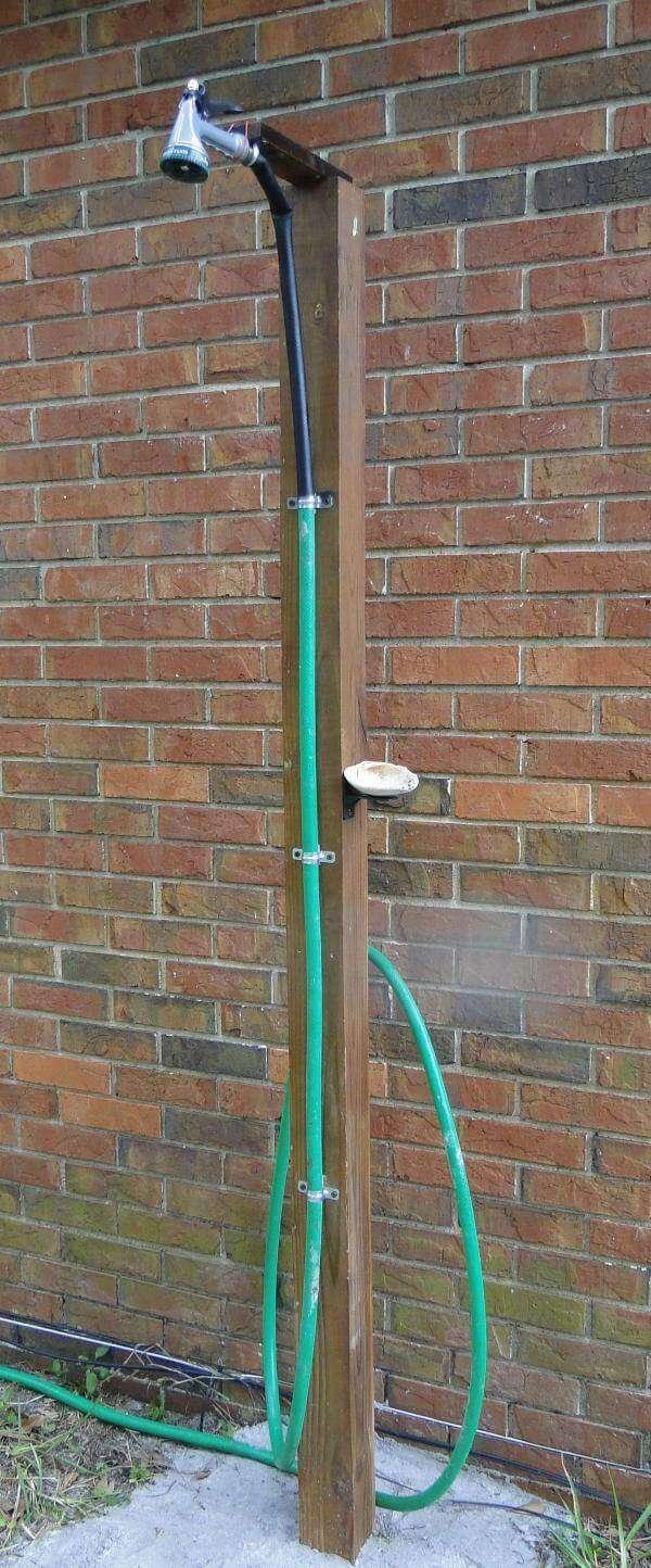 Make Outdoor Shower Using Simple Garden Hose