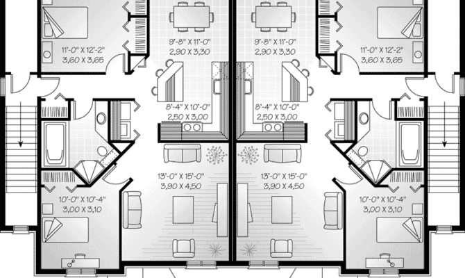 Marland Multi Fourplex Plan House Plans