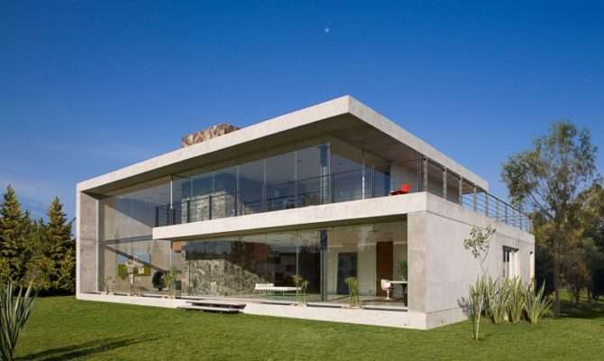 Massive Concrete Glass Residence Mexico House