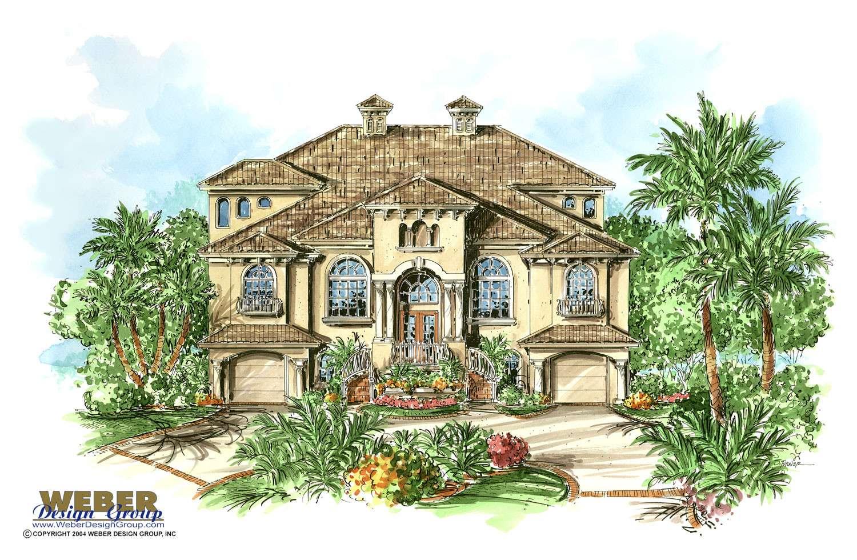 Mediterranean House Plan Coastal Tuscan Style Beach Home