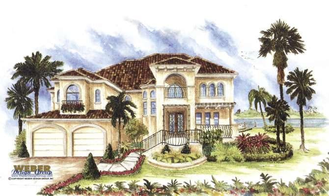 Mediterranean House Plan Story Luxury Home Floor