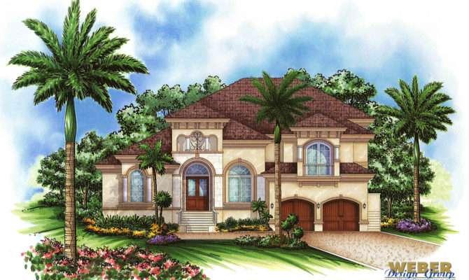 Mediterranean House Plan Story Tuscan Waterfront Home