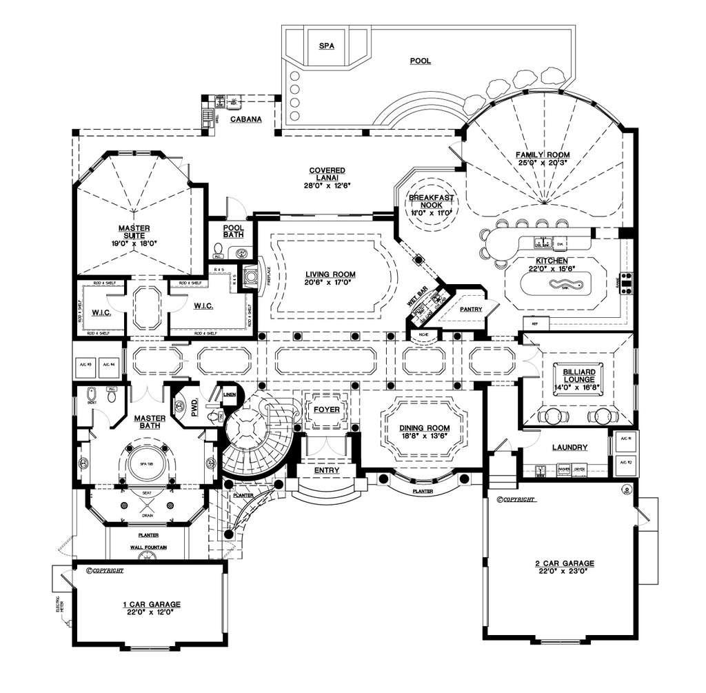 Mediterranean Style House Plan Beds Baths