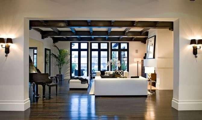 Meridith Baer Spanish Style House Living Room Beamed Ceilings