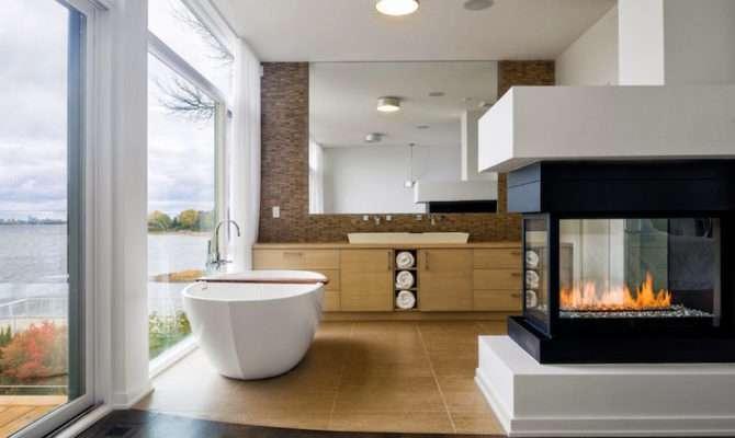 Mesmerizing Luxury Bathrooms Fireplaces