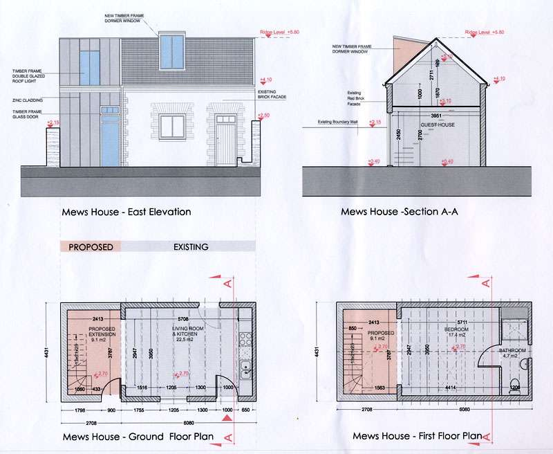 mews house extention cad drawings propoesd work elevation plans - Mews House Design