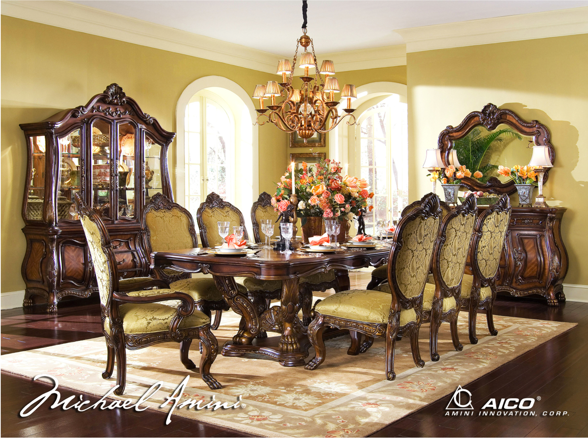 Michael Amini Chateau Beauvais Formal Dining Room Set Noble Bark Aico