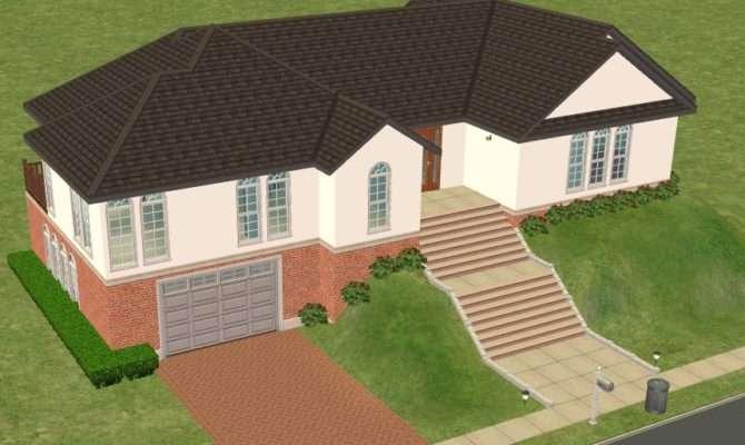Mod Sims Hillside House Basement Garage