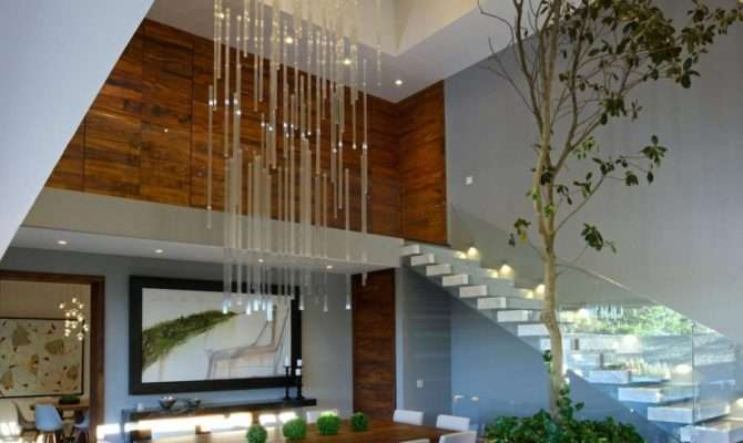 Modern Atrium House Large Double Height Space Living