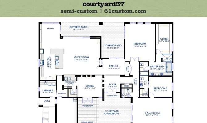 Modern Courtyard House Plan Custom Contemporary