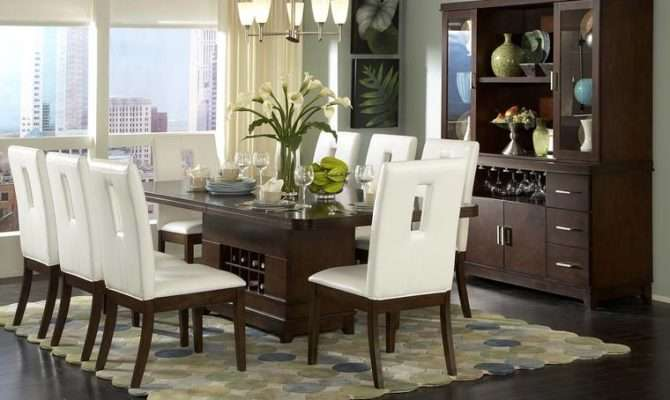 Modern Dining Room Ideas Dark Hardwood Floors White Chairs