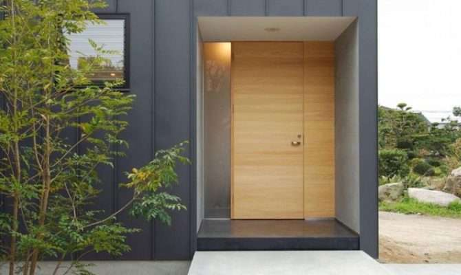 Modern Exterior Door Vertical Metal Siding Chukuzen House