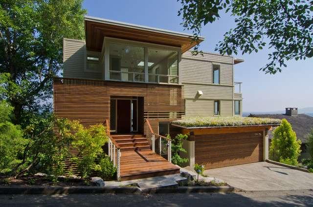 Modern Hillside Home Lake Oswego Exterior